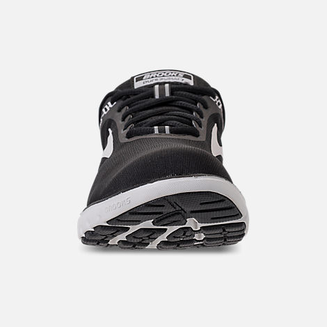 Front view of Women's Brooks PureFlow 7 Running Shoes in Black/White