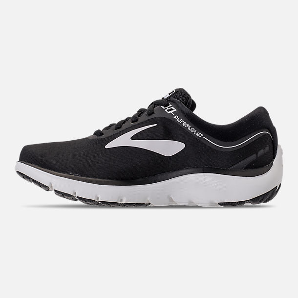 Left view of Women's Brooks PureFlow 7 Running Shoes in Black/White