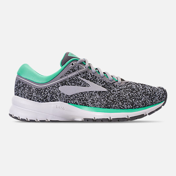 Right view of Women's Brooks Launch 5 Running Shoes in Grey/Aqua Green/Ebony