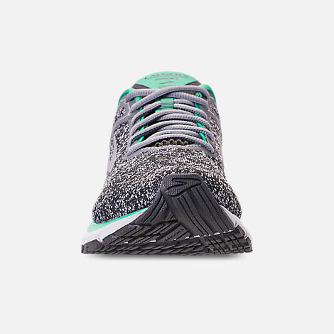 Front view of Women's Brooks Launch 5 Running Shoes in Grey/Aqua Green/Ebony