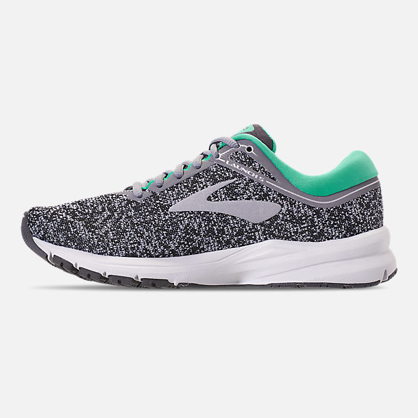 Left view of Women's Brooks Launch 5 Running Shoes in Grey/Aqua Green/Ebony