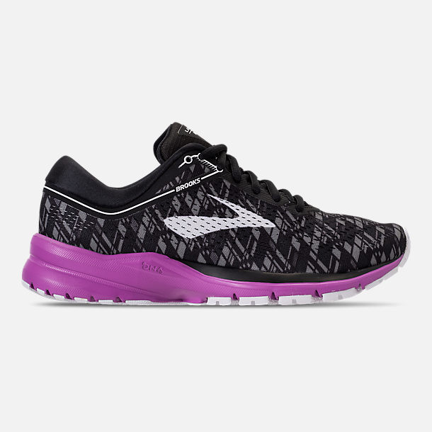 Right view of Women's Brooks Launch 5 Running Shoes in Black/Purple/Print