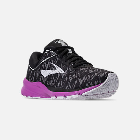 Three Quarter view of Women's Brooks Launch 5 Running Shoes in Black/Purple/Print