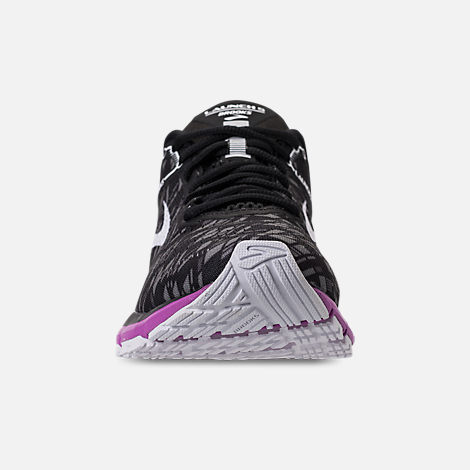 Front view of Women's Brooks Launch 5 Running Shoes in Black/Purple/Print