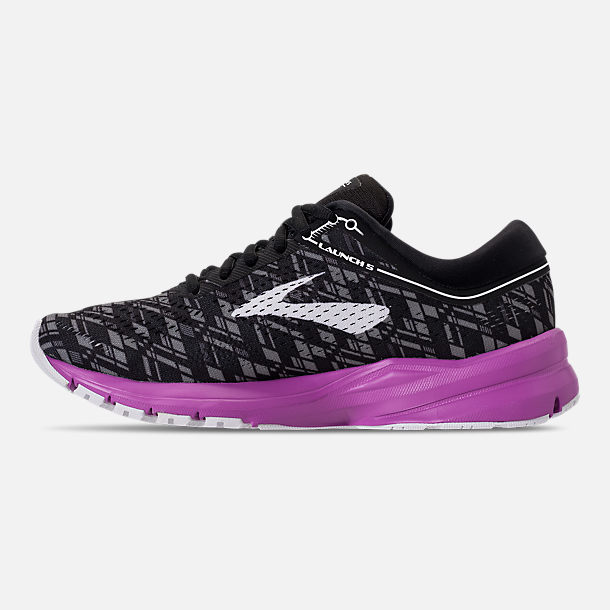 Left view of Women's Brooks Launch 5 Running Shoes in Black/Purple/Print