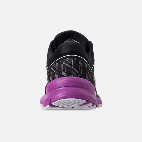 Back view of Women's Brooks Launch 5 Running Shoes in Black/Purple/Print