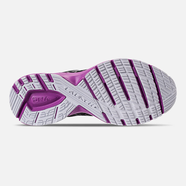 Bottom view of Women's Brooks Launch 5 Running Shoes in Black/Purple/Print