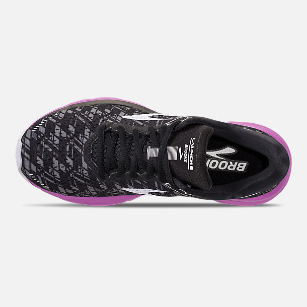 Top view of Women's Brooks Launch 5 Running Shoes in Black/Purple/Print