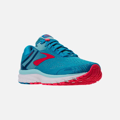 Three Quarter view of Women's Brooks Adrenaline GTS 18 Running Shoes in Blue/Mint/Pink