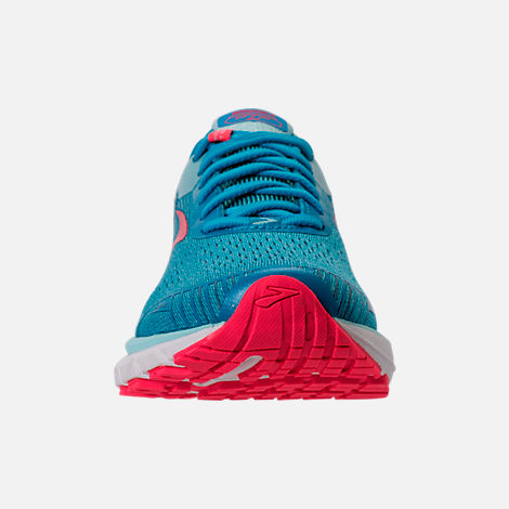 Front view of Women's Brooks Adrenaline GTS 18 Running Shoes in Blue/Mint/Pink