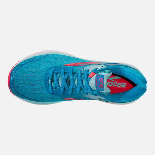 Top view of Women's Brooks Adrenaline GTS 18 Running Shoes in Blue/Mint/Pink