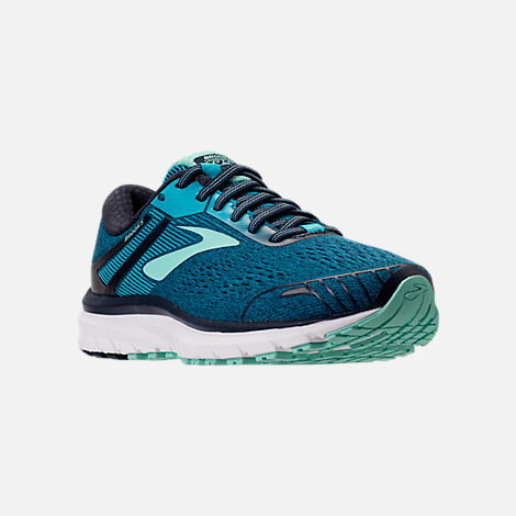Three Quarter view of Women's Brooks Adrenaline GTS 18 Wide Width Running Shoes in Navy/Teal/Mint