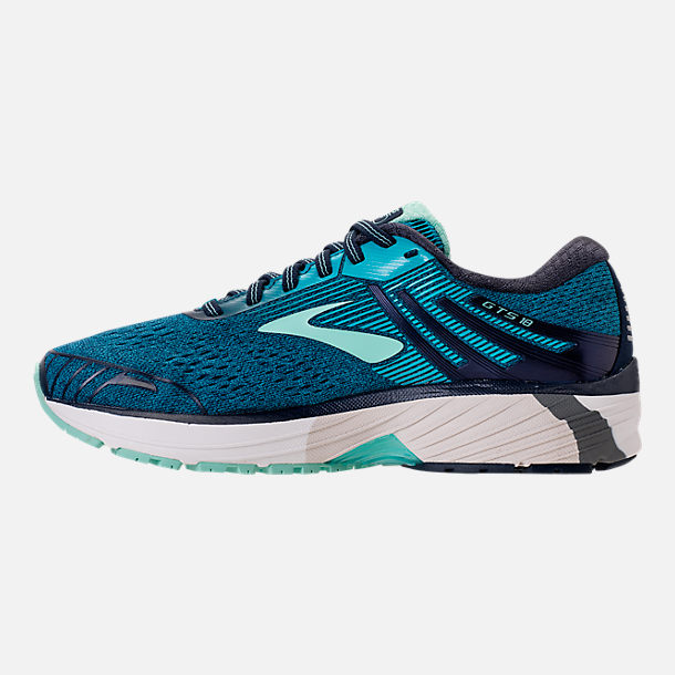 Left view of Women's Brooks Adrenaline GTS 18 Wide Width Running Shoes in Navy/Teal/Mint