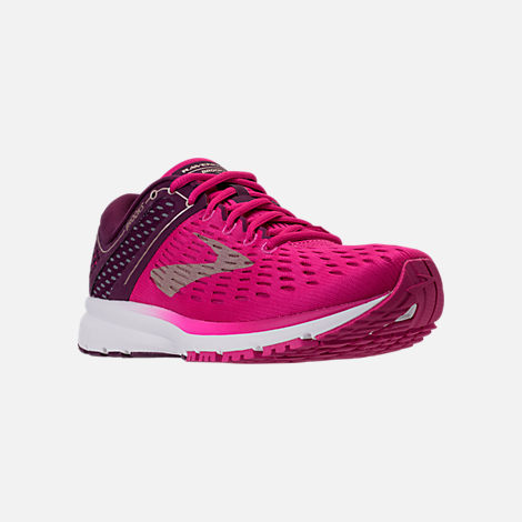 Three Quarter view of Women's Brooks Ravenna 9 Running Shoes in Pink/Plum/Champagne