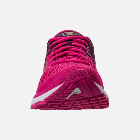 Front view of Women's Brooks Ravenna 9 Running Shoes in Pink/Plum/Champagne