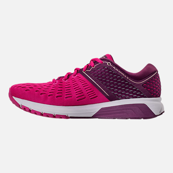 Left view of Women's Brooks Ravenna 9 Running Shoes in Pink/Plum/Champagne