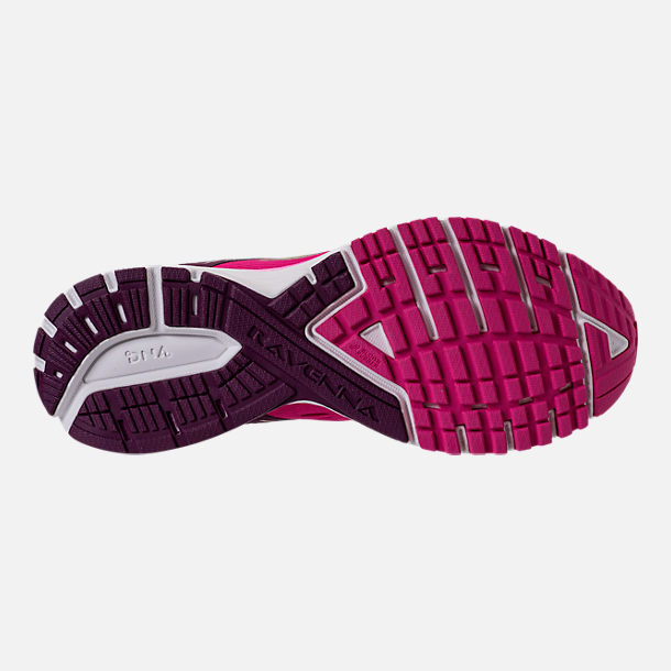Bottom view of Women's Brooks Ravenna 9 Running Shoes in Pink/Plum/Champagne