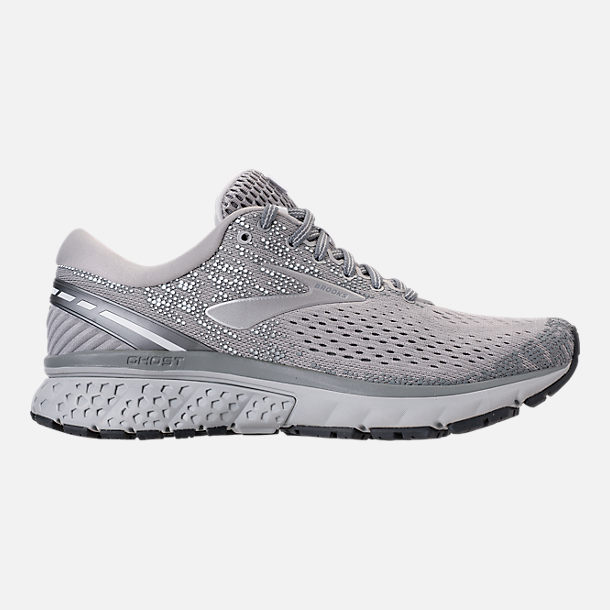 Right view of Women's Brooks Ghost 11 Running Shoes in Grey/Silver/White
