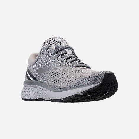 Three Quarter view of Women's Brooks Ghost 11 Running Shoes in Grey/Silver/White