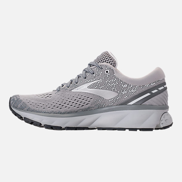 Left view of Women's Brooks Ghost 11 Running Shoes in Grey/Silver/White