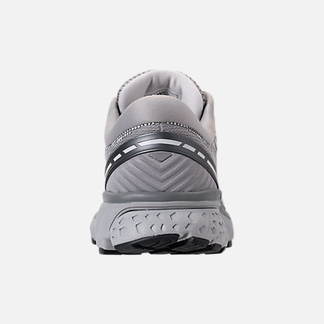 Back view of Women's Brooks Ghost 11 Running Shoes in Grey/Silver/White