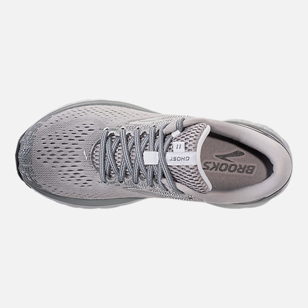 Top view of Women's Brooks Ghost 11 Running Shoes in Grey/Silver/White