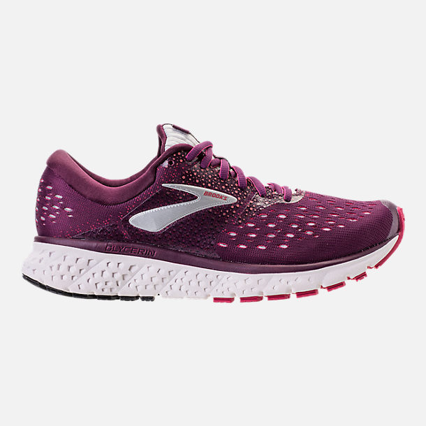 Right view of Women's Brooks Glycerin 16 Running Shoes in Purple/Pink/Grey