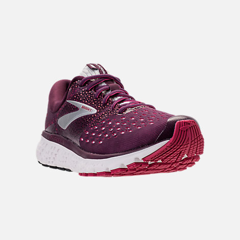 Three Quarter view of Women's Brooks Glycerin 16 Running Shoes in Purple/Pink/Grey