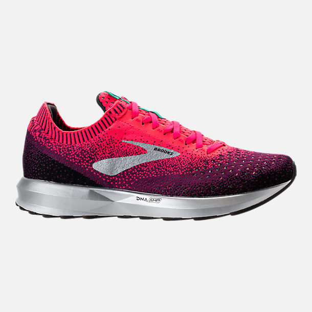 Right view of Women's Brooks Levitate 2 Running Shoes in Pink/Black/Aqua