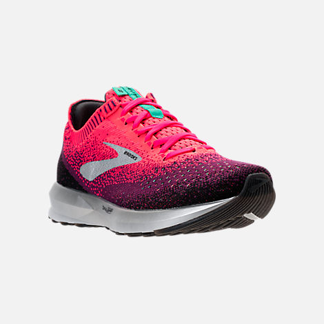 Three Quarter view of Women's Brooks Levitate 2 Running Shoes in Pink/Black/Aqua