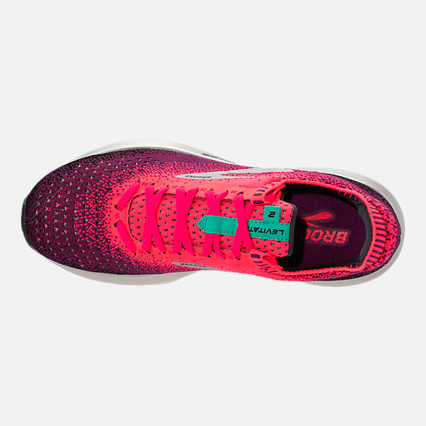 Top view of Women's Brooks Levitate 2 Running Shoes in Pink/Black/Aqua
