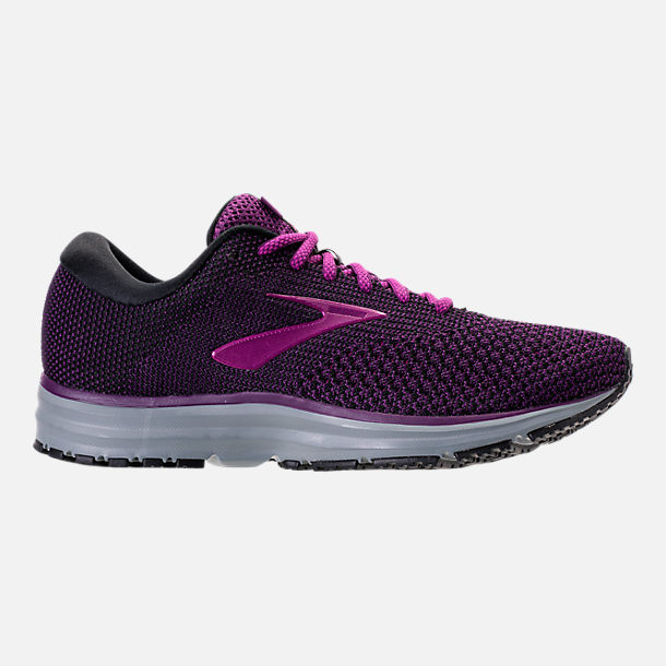 Right view of Women's Brooks Revel 2 Running Shoes in Black/Purple/Grey