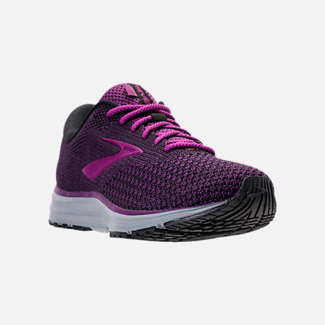 Three Quarter view of Women's Brooks Revel 2 Running Shoes in Black/Purple/Grey