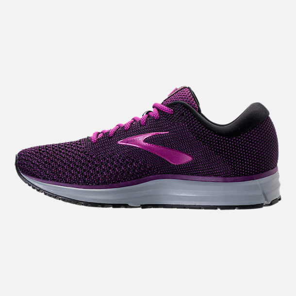 Left view of Women's Brooks Revel 2 Running Shoes in Black/Purple/Grey