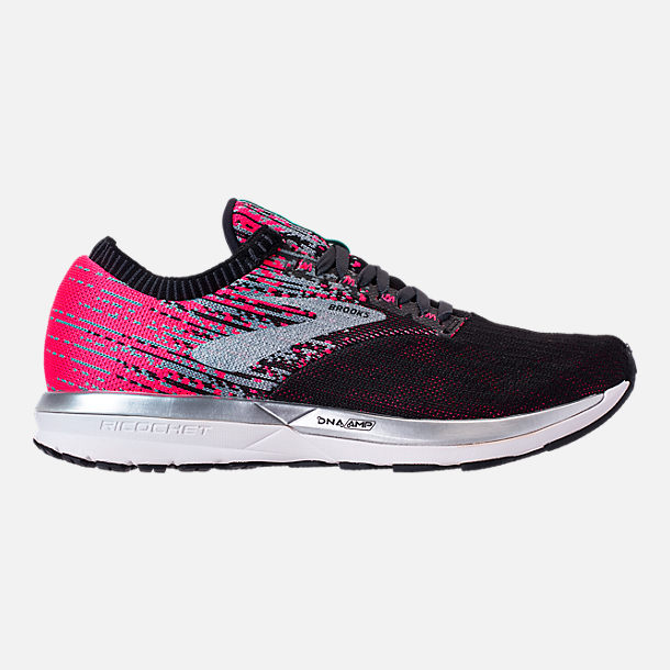 Right view of Women's Brooks Ricochet Running Shoes in Pink/Black/Aqua