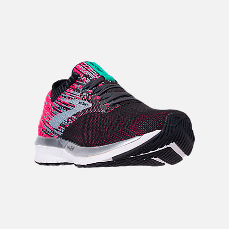 Three Quarter view of Women's Brooks Ricochet Running Shoes in Pink/Black/Aqua