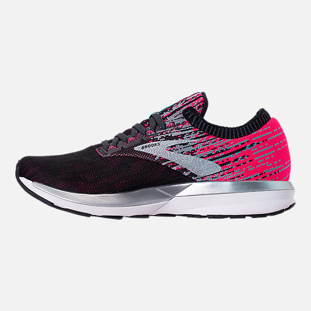 Left view of Women's Brooks Ricochet Running Shoes in Pink/Black/Aqua