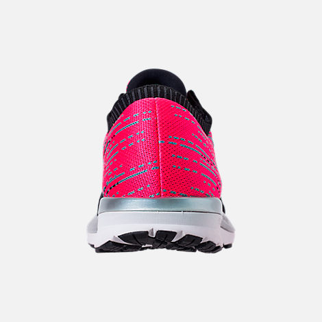 Back view of Women's Brooks Ricochet Running Shoes in Pink/Black/Aqua