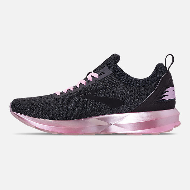Left view of Women's Brooks Levitate 2 LE Running Shoes in Black/Grey/Rose