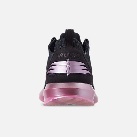 Back view of Women's Brooks Levitate 2 LE Running Shoes in Black/Grey/Rose