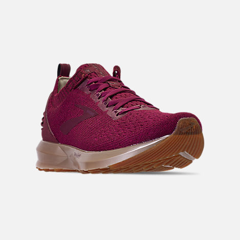 Three Quarter view of Women's Brooks Levitate 2 LE Running Shoes in Fig/Sangria/Metallic