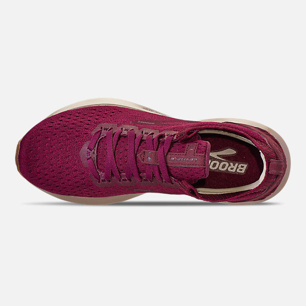 Top view of Women's Brooks Levitate 2 LE Running Shoes in Fig/Sangria/Metallic