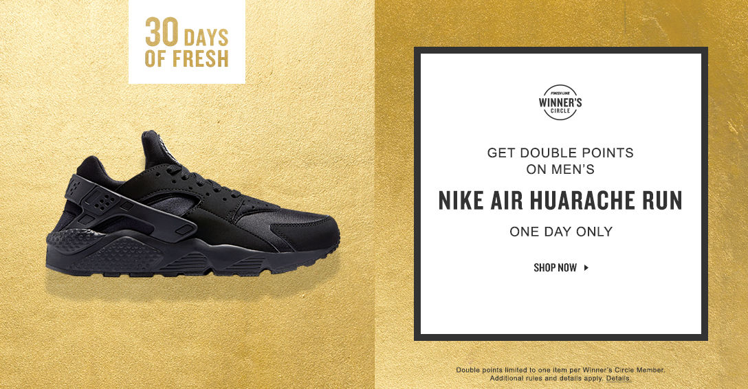 Earn a $20 Reward with the purchase of any Men\u0027s Nike Air Huarache Run.  Today