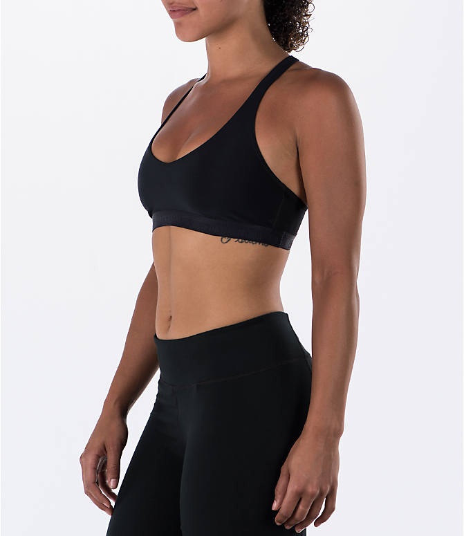 Front Three Quarter view of Women's Under Armour Low Sports Bra in Black