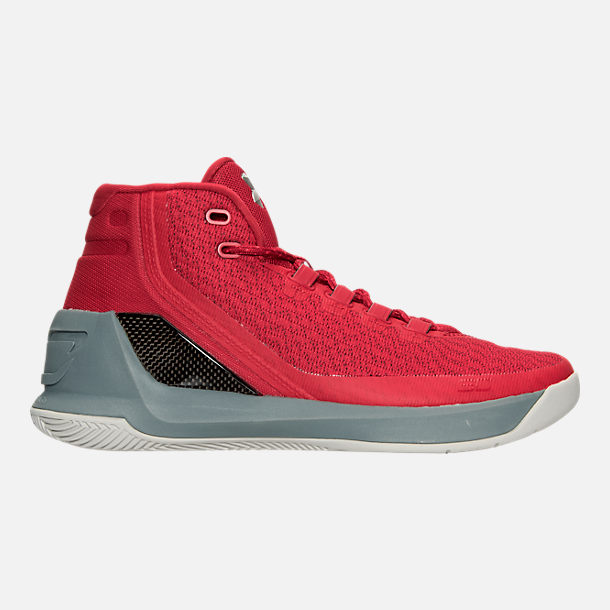 Right view of Men's Under Armour Curry 3 Basketball Shoes in Red/Grey/Black