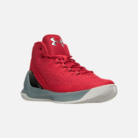 Three Quarter view of Men's Under Armour Curry 3 Basketball Shoes in Red/Grey/Black