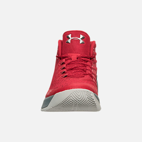 Front view of Men's Under Armour Curry 3 Basketball Shoes in Red/Grey/Black