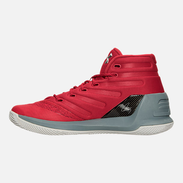 Left view of Men's Under Armour Curry 3 Basketball Shoes in Red/Grey/Black