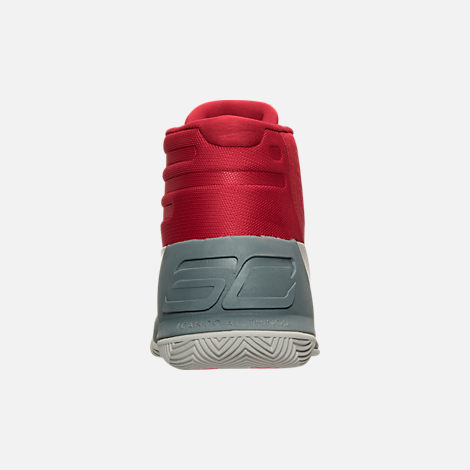 Back view of Men's Under Armour Curry 3 Basketball Shoes in Red/Grey/Black