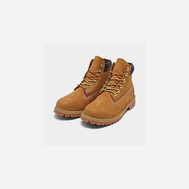 Three Quarter view of Little Kids' Timberland 6 Inch Classic Boots in Wheat